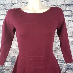 Chaps Burgundy Crew Neck A-Line Dress, Small